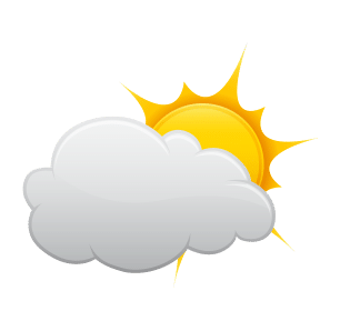 Icon representation of Humid and mostly cloudy throughout the day.