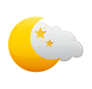 Icon representation of Humid and Mostly Cloudy
