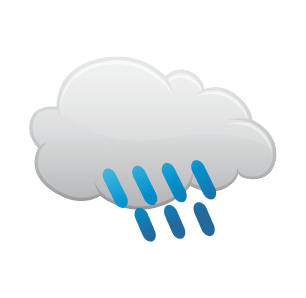 Icon representation of Rain until afternoon, starting again overnight.