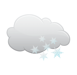 Icon representation of Rain (with a chance of 1–3 in. of snow) in the morning and afternoon.