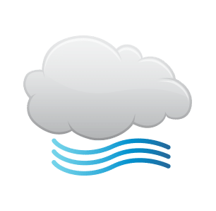 Icon representation of Windy and partly cloudy throughout the day.